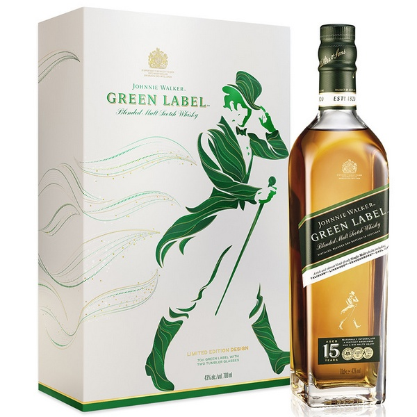Johnnie Walker Green 15 years (éves) dd.+ 2 pohár 43% 0.7L
